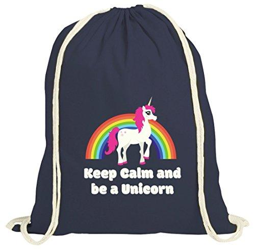 Einhorn natur Turnbeutel mit Rainbow - Keep Calm And Be A Unicorn Motiv von ShirtStreet dunkelblau natur