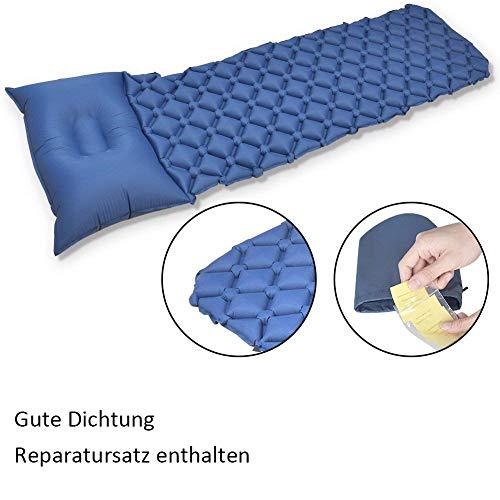 GEEDIAR Isomatte Camping aufblasbare Luftmatte mit Kissen 190x59x6 cm Farbe dunkel blau, ultraleicht tragbare Luftmatratze für Camping Ausflug Deppel Zelt inkl. kleinem Packsack - 8