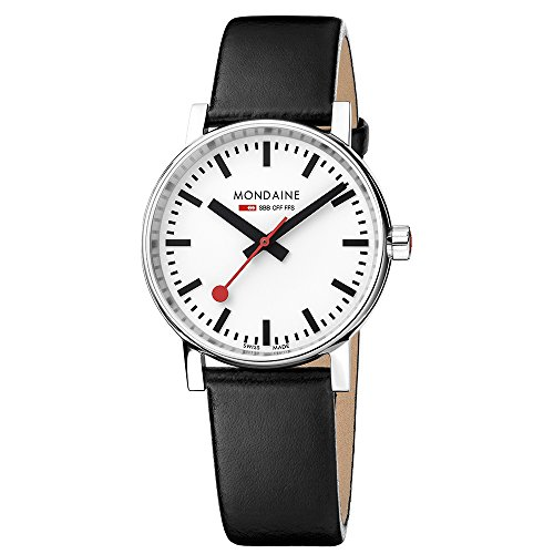 Mondaine Men's  evo2 35mm sapphire Watch with St. Steel polished Case white Dial and black leather Strap MSE.35110.LB