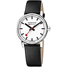 Mondaine  evo2 35mm sapphire Watch with St. Steel polished Case white Dial and black leather Strap MSE.35110.LB