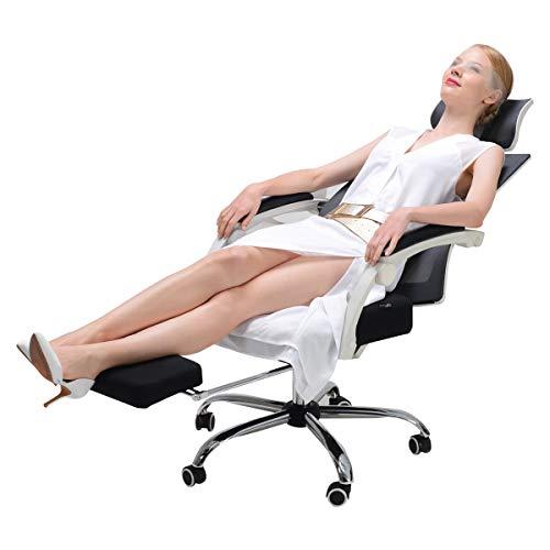 Hbada ergonomischer Bürostuhl Drehstuhl mit Fußstütze Chefsessel mit Verstellbarer Kopfstütze Höhenverstellung Neigungsverstellung Weiß