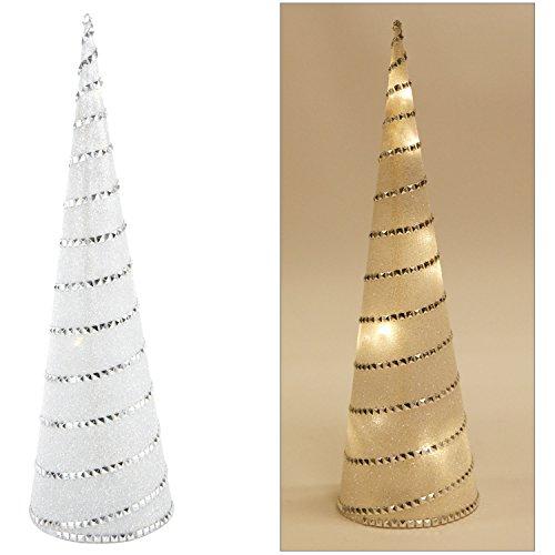 LED Pyramide 37 cm mit Glitzer - 8 warmweiße LEDs - Deko Stern Lichtkegel LED Kegel