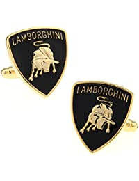 Lamborghini Super Car Logo Cufflinks French Dress Cufflinks Gift Set One Pair Golden Color With Gift Bag