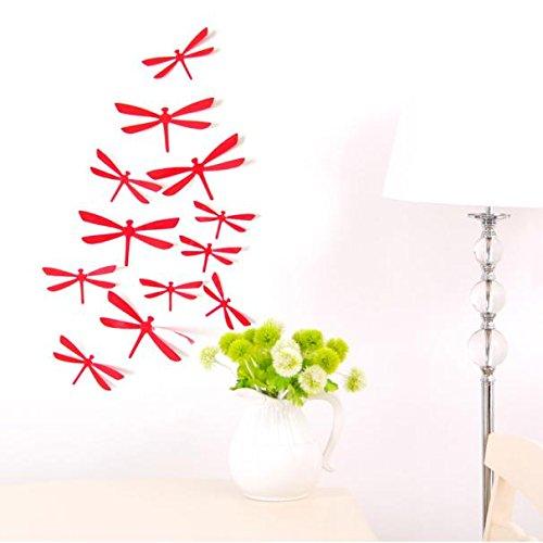 Yallylunn 3D DIY Decor Dragonfly Home Party Wall Stickers PVC Art Decal Einzigartig SchmüCken Schlafzimmer Wohnzimmer Moderne Hintergrund Tv DéCor 12Pcs