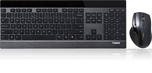 Rapoo 12120 8900P Bl Kit Wireless 5 Ghz Tastiera Ultrasottile Touchkeys Inox Multimediale e Mouse Laser, 6 Tasti, 1600 dpi, Layout Italiano, Nero