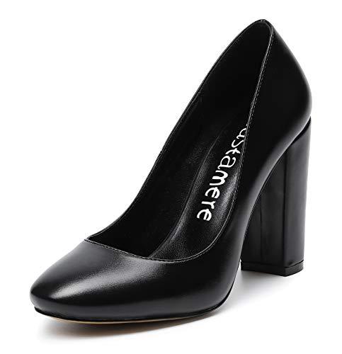 CASTAMERE Damen Blockabsatz Klassisch Runde Zehe Pumps Fashion Trendige Basic Schuhe Hochzeit Abiball Büro High Heels 10CM PU Schwarz Pump EU 45 - Pu High Heel