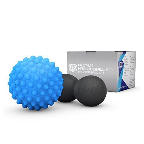 Faszien-Ball - Massageball Set bestehend aus Duo-Ball/ Peanut-Ball und Igel-Massage-Ball, ideal zur Faszien- und Trigger-Point Massage mit gedruckte Anleitung, Therapieball, Triggerball, Doppel-/ Double-Ball, Twin-Ball perfekt für Yoga, Sport, Crossfit und Fitness (Blau und Schwarz)