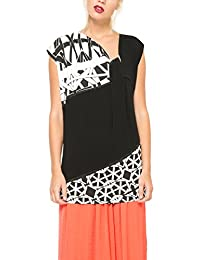 Desigual ATOMI-Camiseta Mujer, color negro (negro 2000), talla M