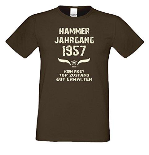 Modisches 60. Jahre Fun T-Shirt zum Männer-Geburtstag Hammer Jahrgang 1957 Ideale Geschenkidee zum Jubeltag Farbe: braun Braun