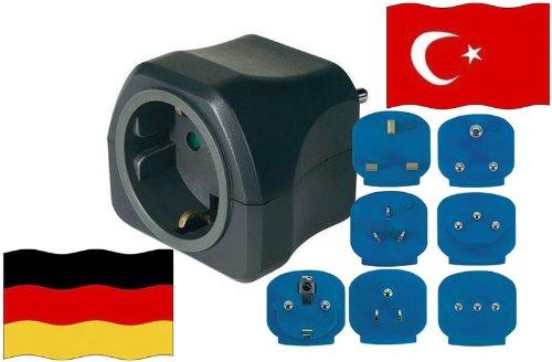 Preisvergleich Produktbild Reise-Adapter Türkei auf Deutschland TR - GER Travel Plug TÜRKEI-Reise (Schutzkontakt)