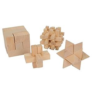 Rompicapo in legno set composto da 4 elementi