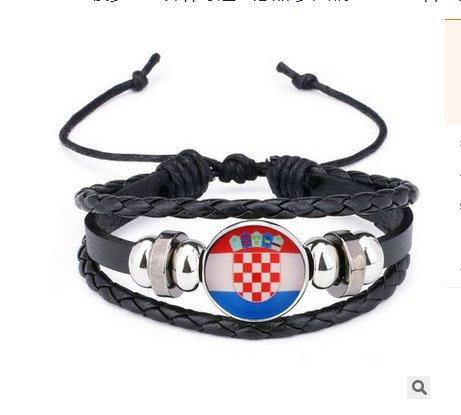 Newin Star WM Armband, Stylisches Armband für 2018 Weltmeisterschaft, Fußball Fanartikel Geflochtenes Lederarmband in Länder Style (Kroatien)