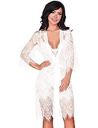 b41d74b9c7e7 Livia Corsetti Fashion Dressing Gown and Nightdress Nightshirt Womens Sexy  Set Lingerie White Lace Reve Blanc