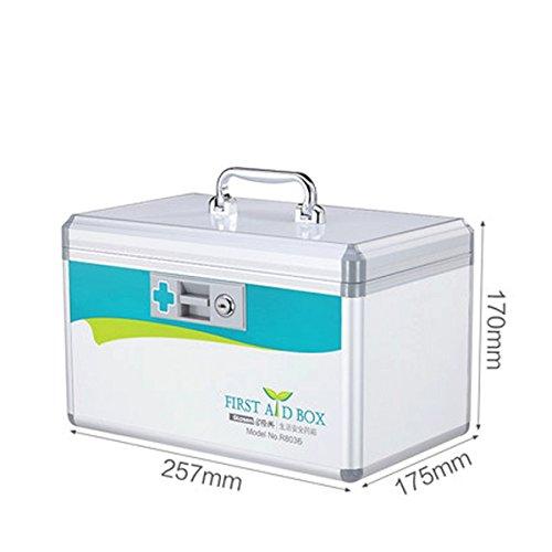 popowbe Tragbare Medizin Aufbewahrungsbox Organizer Medizin Lock Box, weiß