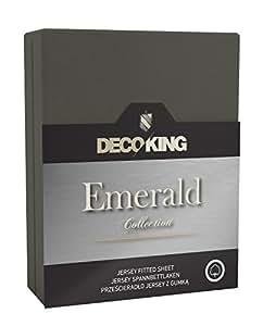 DecoKing 17647 Spannbettlaken 140 x 200 - 160 x 200 cm Jersey 100% Baumwolle Boxspringbett Spannbetttuch Emerald Collection, graphit
