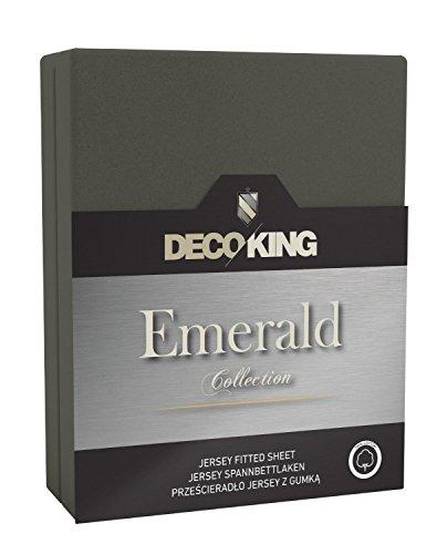 DecoKing 17920 Spannbettlaken 180x200 - 200x220 cm Jersey 100% Baumwolle Boxspringbett Spannbetttuch Emerald Collection, graphit
