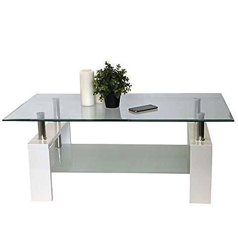 Design Couchtisch, 2 Ebenen, untere Glasplatte satiniert, Holzbeine hochglanz Weiß, 110x60x45cm - Glastisch Kaffeetisch