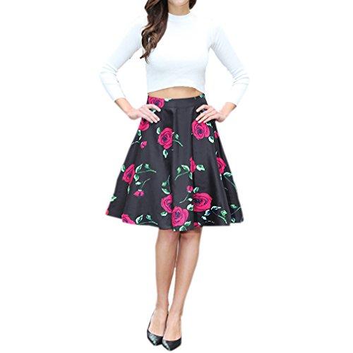 Honghu Elegante Vintage Faldas de la Vendimia para Mujer De Impresión por la Rodilla Vestido Tamaño L Rojo