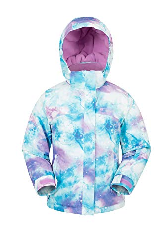 Mountain Warehouse Bedruckte Skijacke für Kinder mit verzaubertem Design - Regenmantel, warm, mit Fleece-Futter - Jungen und Mädchen - für den Skiurlaub Violett 104 (3-4 Jahre) - Bedruckte Fleece-jacke