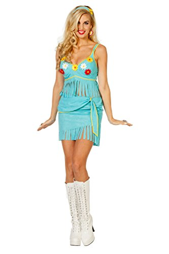 Damen Sexy Kostüm Hippie - Karneval-Klamotten Hippie Kostüm Rock Kostüm Sexy Hippie Dame Blumen Karneval Flower Power Damenkostüm Größe 40