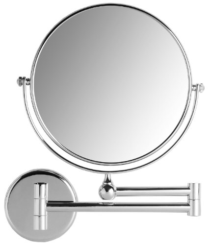 VELMA - AE802 5x - Hochwertiger 2-seitiger Kosmetikspiegel - 5-Fach Vergrößerung + Normalgröße - In alle Richtungen verstellbar - Hochglanz verchromtes Messing - Kein Plastik - Lässt sich vollständig an die Wand klappen - 100 % rostfrei ! - Messing Wand Spiegel