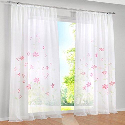 1er Pack Voile Gardine 'Flowers' farbenfrohe Vorhänge Schal mit Kräuselband Pink BxH 150x145cm