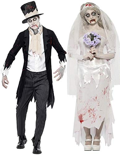 Fancy Me Herren Damen Paar Kostüm Zombie Geist Leiche Braut & Bräutigam Halloween Verkleidung Outfit - Ladies UK 16-18 & Mens Medium (Zombie Braut Und Bräutigam Kostüm)