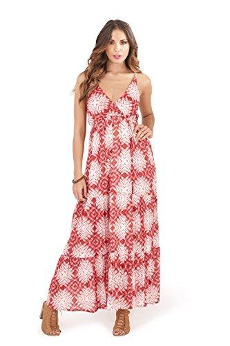 Femmes Pistachio Floral Ou Imprimé Aztèque Midi Femmes Coton Robe Bretelle rouge strass