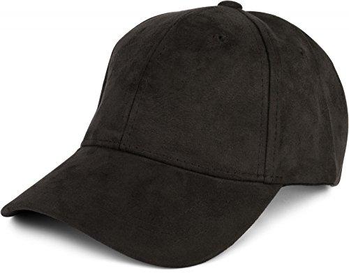 styleBREAKER 6-Panel Cap in Veloursleder, Wildleder Optik, Baseball Cap, verstellbar, Unisex 04023049, Farbe:Schwarz
