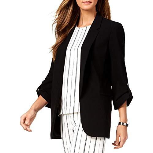 Nine West Womens Three-Quarter Sleeve Wear to Work Open-Front Blazer