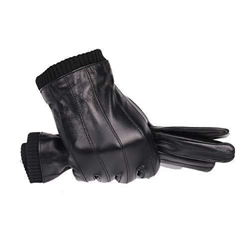 CCMOO Lederhandschuhe für Männer Winter Mode Handschuhe importiert Schaffell spielen Touchscreen elastische Handgelenk-colour1, L-Anzug plam22-23.cm Geschenke