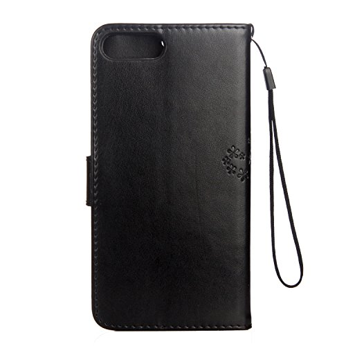 Custodia iPhone 7 Plus, Cover iPhone 7 Plus, ikasus® iPhone 7 Plus Colorato verniciato Custodia Cover [PU Leather] [Shock-Absorption] Coppie di gufo e albero Goffratura Cover Custodia colore puro con  Nero