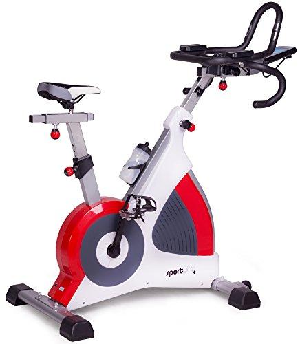 SportPlus Indoor Cycling Bike, Fahrradergometer bis 150kg Nutzergewicht, Studioqualität, elektromagnetische Wirbelstrombremse, Wattanzeige, 50 motorgesteuerte Widerstandsstufen, Sicherheit geprüft