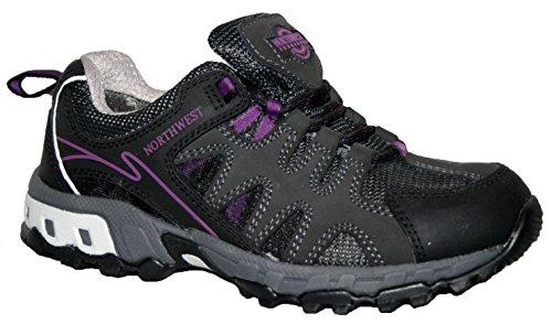 Donna Hope completamente impermeabile da passeggio/escursionismo con lacci scarpe da ginnastica Black/Lilac