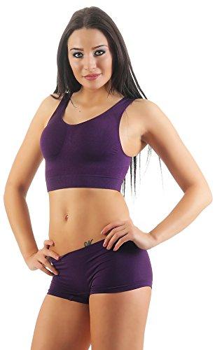 Bustier oder Pantys in verschiedene Farben Sport BH Stützzonen im Brust und Rückenbereich ohne Nähte Seamless Gr. 36/38 - 52/54 1x Bustier pflaume