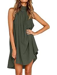 63f05e96e PAOLIAN Vestido Mujer Verano Sólido Casual Vestido Cuello Halter Redondo Sin  Tirantes Irregular Cómodo Plisada Vestido