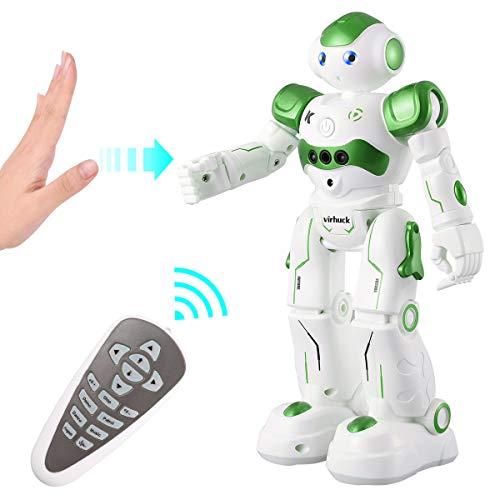 Virhuck R2 Robot Telecomandato per Bambini, Robot Giocattolo, RC Robot Programmazione Intelligente e Gesture Sensore, Danza Cantare Camminare, 500 mAh, Ricarica USB, Verde