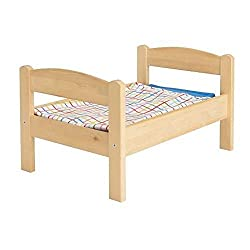 1 X Ikeas DUKTIG Doll bed with bedlinen set, pine, multicolor