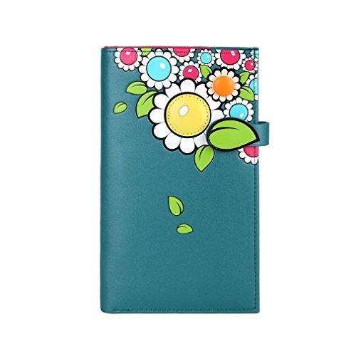 In pelle goffrata Menkai borsa del portafoglio PU disegno fiori 761Z1 verdi PEACOCK