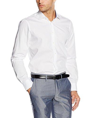 Tommy Hilfiger Tailored Herren Businesshemd Prk SHTSLD00001, Weiß (100), Small (Herstellergröße: R 39) (Hilfiger Button Down Hemd Tommy)