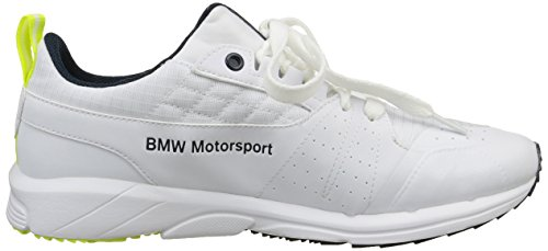 Puma Bmw Ms Pitlane, Baskets Basses mixte adulte Blanc (White/White/Safety Yellow)