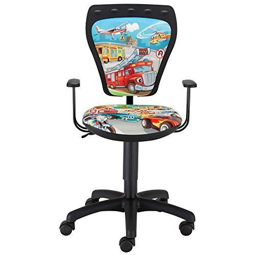 Schreibtischstuhl Kinderzimmer Autos bunt Kinder Jungen Drehstuhl mit Armlehnen