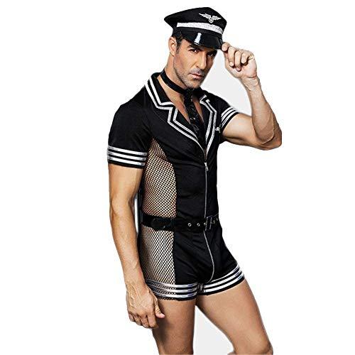JHLUB Herren Dessous Set Rollenspiel Sailor Policemen Pilot Body Dessous Set Uniform Mit Reißverschluss Kostüm Outfit (Pilot Uniform Kostüm)
