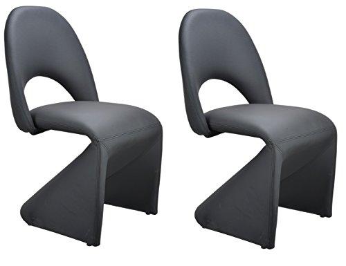 Homexperts Schwingstuhl 2-er Set LOGAN / 2x gepolsterte Esszimmerstühle  in modernem Design / Bezug Kunstleder Schwarz / 52 x 89 x 55 cm (B x H x T)