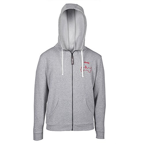 Jeep Herren J Man Hooded NAPPED Sweatshirt Full Zip Willys Side Outline J6W, Grey Melange/Red, XL - Grey Hooded Full Zip Sweatshirt