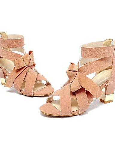 UWSZZ IL Sandali eleganti comfort Scarpe Donna-Sandali-Ufficio e lavoro / Formale / Casual-Tacchi / Aperta-Quadrato-Felpato-Nero / Rosa / Grigio Black