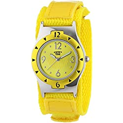 At Time Girl's Watch with Yellow Dial and Yellow Fabric Strap 454-1806-22