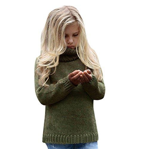 LCLrute Neue Kleinkind Mädchen scherzt Baby-Strickjacke-hoher Kragen strickte Pullovers warme Mantel-Kleidung (90) (Label Lederjacke Black)