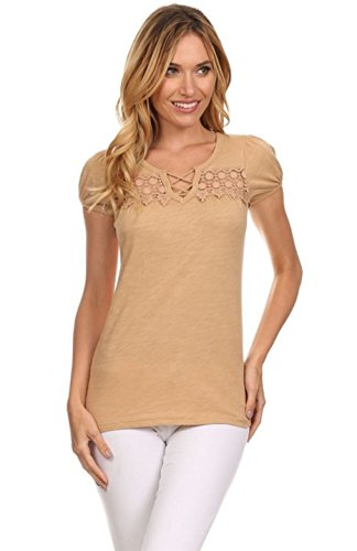 2luv-womens-short-sleeve-criss-cross-top-with-crochet-detail-camel-l-s1809
