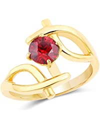 Johareez Gold Plated Designer Red Solitaire Cubic Zirconia Ring For Women
